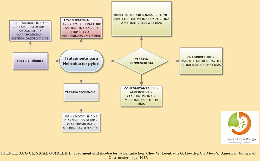 Opciones tratamiento Helicobacter pylori